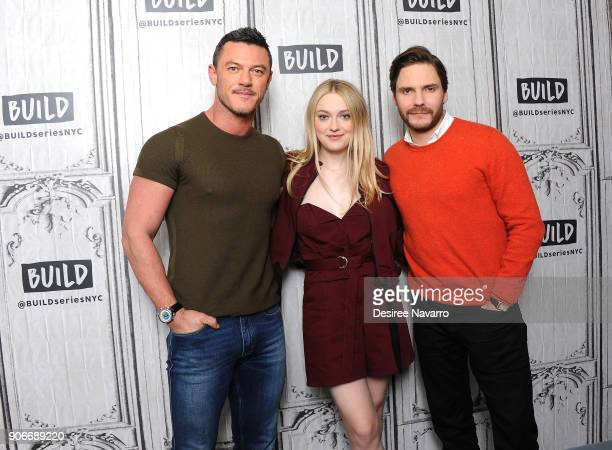 Actors Luke Evans Dakota Fanning and Daniel Bruhl visit Build Series to discuss 'The Alienist' at Build Studio on January 18 2018 in New York City