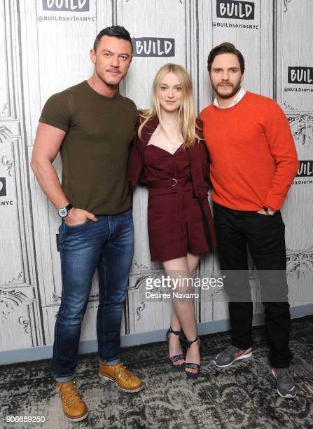 Actors Luke Evans Dakota Fanning and Daniel Bruhl visits Build Series to discuss 'The Alienist' at Build Studio on January 18 2018 in New York City