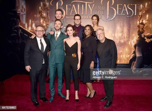 Actors Luke Evans Josh Gad and Gugu MbathaRaw Director Bill Condon Actors Dan Stevens Emma Watson Audra McDonald and Composer Alan Menken arrive for...