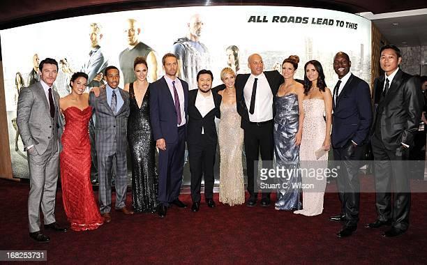 Actors Luke Evans, Michelle Rodriquez, Chris Ludacris Bridges, Gal Gadot, Paul Walker, director Justin Lin and actors Elsa Pataky, Vin Diesel, Gina...