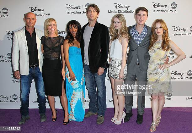 Actors Luke Goss Radha Mitchell Suleka Mathew Wil Traval Erin Moriarty Sterling Beaumon and Jamie Ray Newman attend Disney Media Networks...