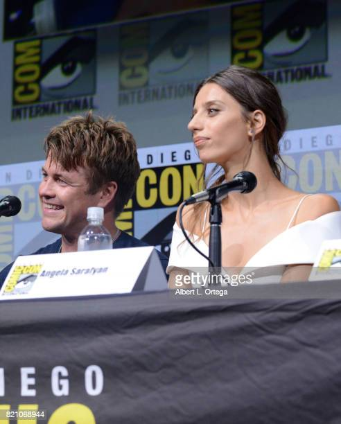 Actors Luke Hemsworth and Angela Sarafyan attend the 'Westworld' panel and QA Session during ComicCon International 2017 at San Diego Convention...
