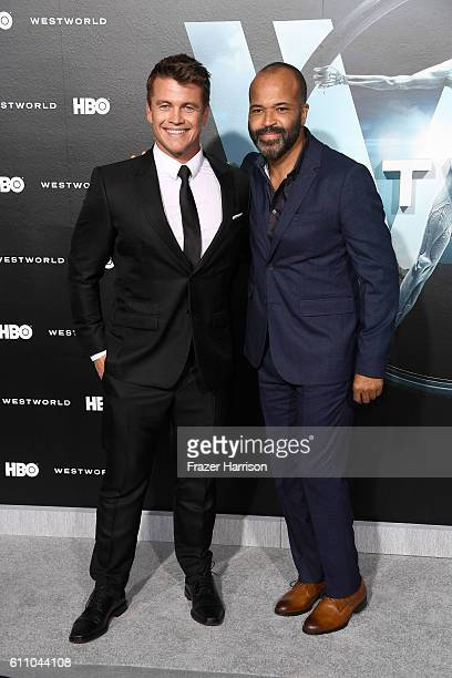 Actors Luke Hemsworth and Jeffrey Wright attend the premiere of HBO's Westworld at TCL Chinese Theatre on September 28 2016 in Hollywood California