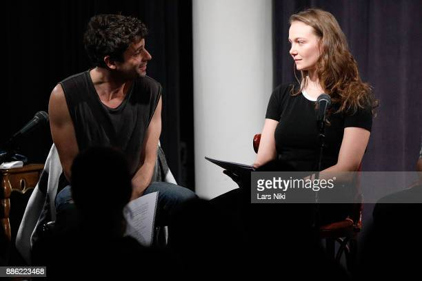 Actors Luke Kirby and Andi Matichak on stage during The Hamptons International Film Festival's Screenplay Reading of Mickey and the Bear at The...