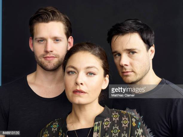 Actors Luke Kleintank Alexa Davalos and Rupert Evans from 'The Man in the High Castle' is photographed for Entertainment Weekly Magazine on July 21...