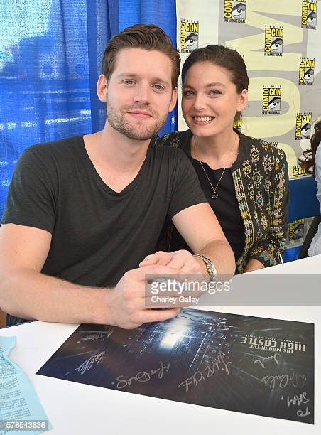 Actors Luke Kleintank and Alexa Davalos attend Amazon Original Series 'The Man in the High Castle' panel and signing during San Diego ComicCon at San...