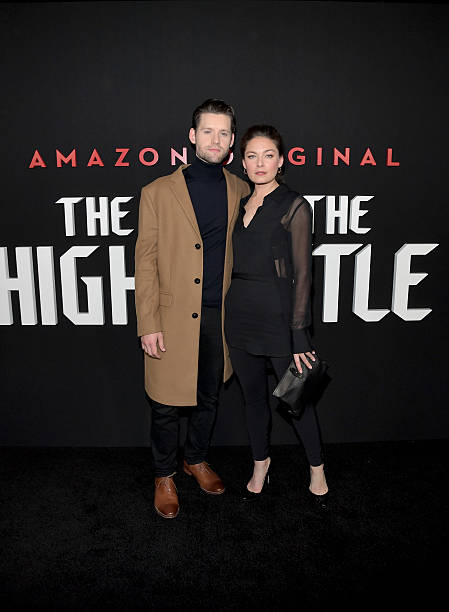 actors luke kleintank l and alexa davalos attend the amazon red carpet season two