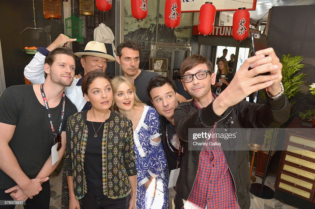 Actors Luke Kleintank, Cary-Hiroyuki Tagawa, Alexa Davalos, Bella Heathcote, Rufus Sewell, Rupert Evans and DJ Qualls of 'The Man in the High Castle' attend the Amazon Village At San Diego Comic-Con at San Diego Convention Center on July 21, 2016 in San Diego, California.