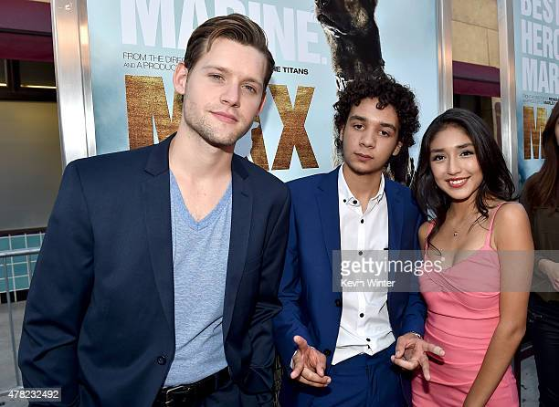 Actors Luke Kleintank Dejon LaQuake and Mia Xitlali arrive at the premiere of Warner Bros Pictures and MetroGoldwynMayer Pictures' Max at the...