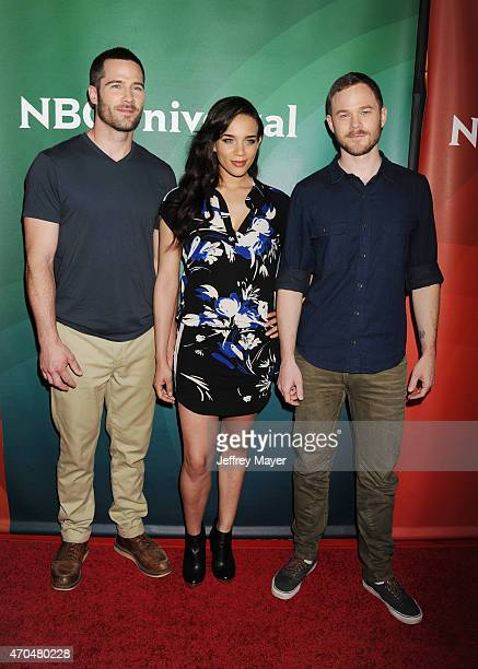 Actors Luke MacFarlane Hannah JohnKamen and Aaron Ashmore attend the 2015 NBCUniversal Summer Press Day held at the The Langham Huntington Hotel and...