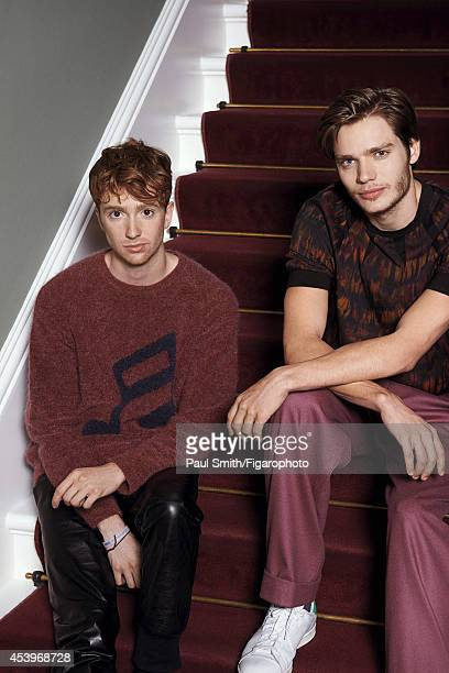 109772020 Actors Luke Newberry and Dominic Sherwood are photographed for Madame Figaro on April 28 2014 in London England Clothing PUBLISHED IMAGE...