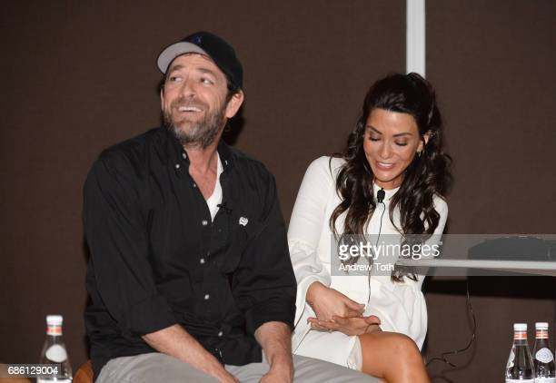 Actors Luke Perry and Marisol Nichols of Riverdale series are interviewed on stage at the Vulture Festival at The Standard High Line on May 20 2017...