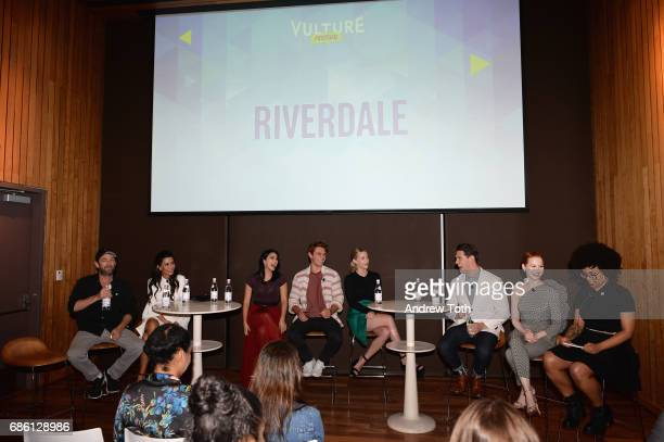 Actors Luke Perry Marisol Nichols Camila Mendes KJ Apa Lili Reinhart Casey Cott and Madelaine Petsch of Riverdale series are interviewed by Angelica...