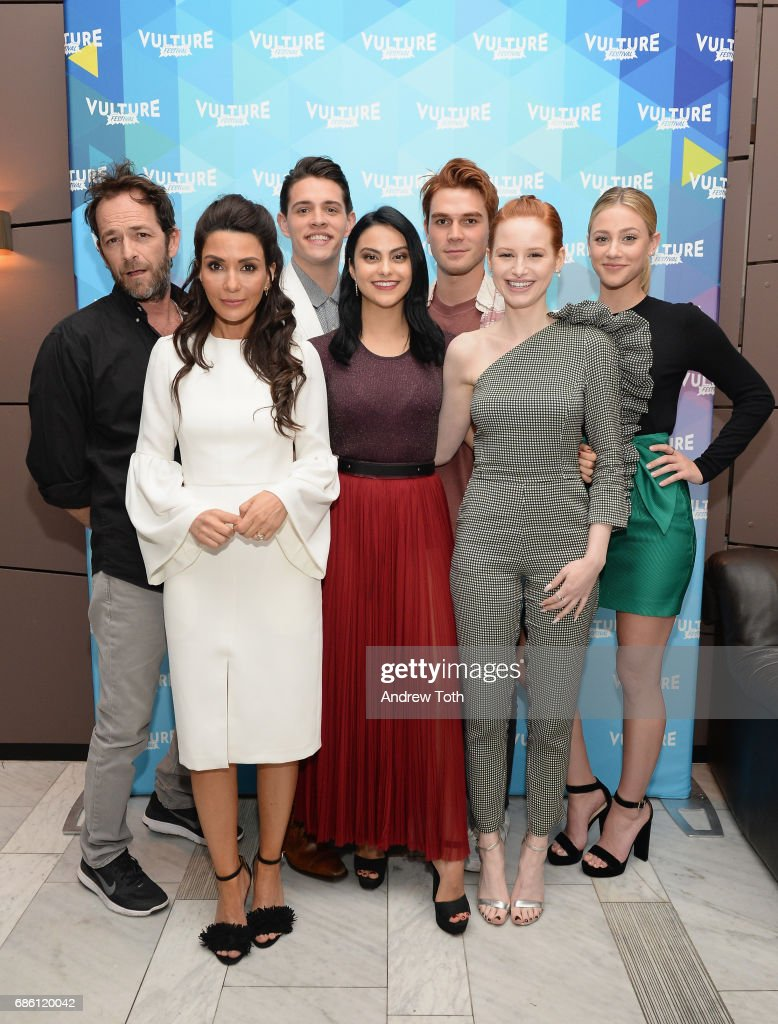 Actors Luke Perry, Marisol Nichols, Casey Cott, Camila Mendes, KJ Apa, Madelaine Petsch and Lili Reinhart of Riverdale series attends the Vulture Festival at The Standard High Line on May 20, 2017 in New York City.