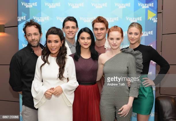 Actors Luke Perry Marisol Nichols Casey Cott Camila Mendes KJ Apa Madelaine Petsch and Lili Reinhart of Riverdale series attends the Vulture Festival...