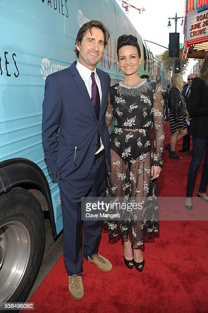"""Actors Luke Wilson and Carla Gugino attend the premiere for Showtime's """"Roadies"""" at The Theatre at Ace Hotel on June 6, 2016 in Los Angeles,..."""