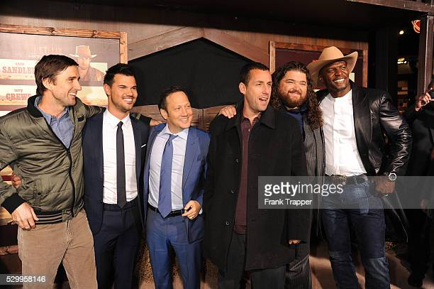 Actors Luke Wilson Taylor Lautner Rob Schneider Adam Sandler Jorge Garcia and Terry Crews arrive at the premiere of The Ridiculous 6 held at AMC...