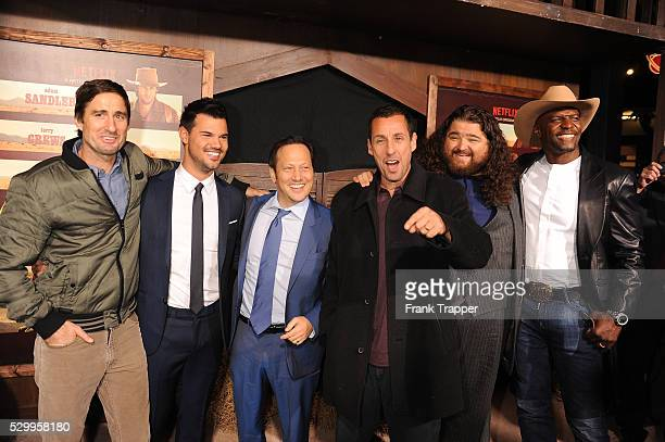 "Actors Luke Wilson, Taylor Lautner, Rob Schneider, Adam Sandler, Jorge Garcia and Terry Crews arrive at the premiere of ""The Ridiculous 6"" held at..."