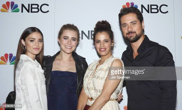 Actors Luna Blaise Boyd Melissa Roxburgh Athena Karkanis and JR Ramirez attend the party for the casts of NBC's 20182019 Season hosted by NBC and The...