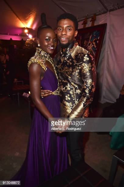 Actors Lupita Nyong'o and Chadwick Boseman at the Los Angeles World Premiere of Marvel Studios' BLACK PANTHER at Dolby Theatre on January 29 2018 in...