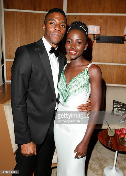 Actors Lupita Nyong'o and Chadwick Boseman attend the 2014 Vanity Fair Oscar Party Hosted By Graydon Carter on March 2 2014 in West Hollywood...