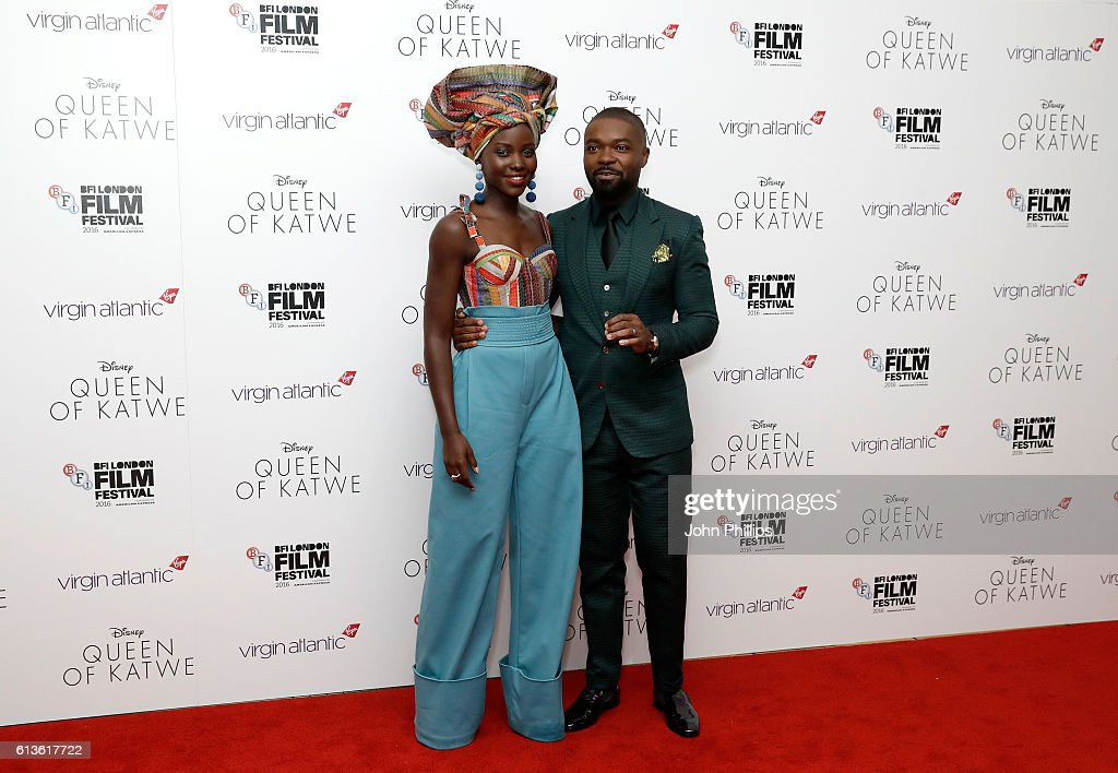 Actors Lupita Nyong'o and David Oyelowo attend the 'Queen Of Katwe' Virgin Atlantic Gala screening during the 60th BFI London Film Festival at Odeon Leicester Square on October 9, 2016 in London, England.