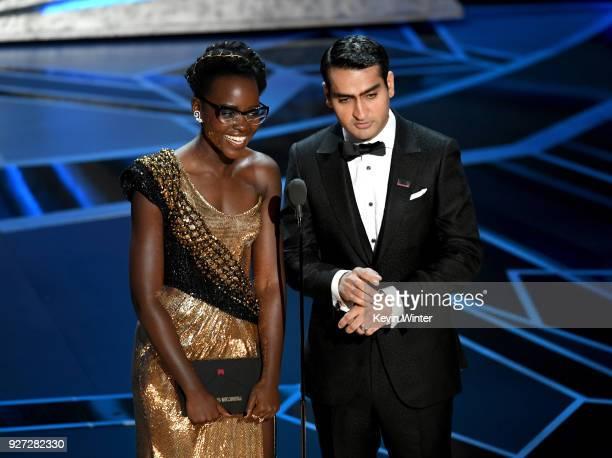Actors Lupita Nyong'o and Kumail Nanjiani speak onstage during the 90th Annual Academy Awards at the Dolby Theatre at Hollywood Highland Center on...