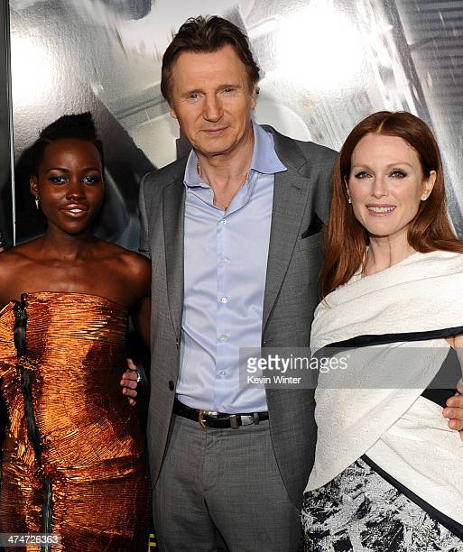 Actors Lupita Nyong'o Liam Neeson and Julianne Moore attend the premiere of Universal Pictures and Studiocanal's 'NonStop' at Regency Village Theatre...