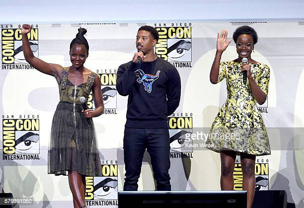Actors Lupita Nyong'o Michael B Jordan and Danai Gurira attend the Marvel Studios presentation during ComicCon International 2016 at San Diego...