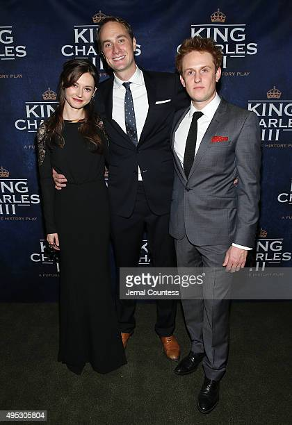Actors Lydia Wilson Oliver Chris and Richard Goulding attend the King Charles III Broadway opening night after party at the Bryant Park Grill on...