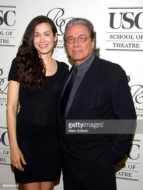 Actors Lymari Nadal and Edward James Olmos arrive for the Robert Redford Award for Engaged Artists Gala at The Beverly Wilshire Hotel on February 10...