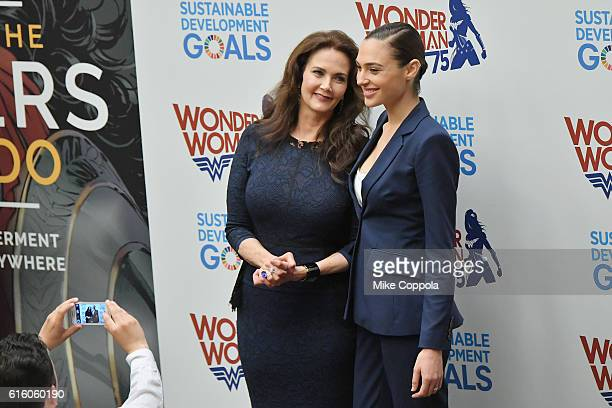 Actors Lynda Carter and Gal Gadot pose for a picture at the Wonder Woman UN Ambassador Ceremony at United Nations on October 21 2016 in New York City