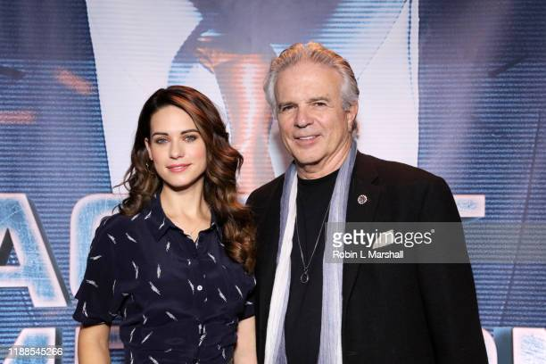 Actors Lyndsy Fonseca and Tony Denison attend the Premiere of Agent Emerson at iPic Theater on November 18 2019 in Los Angeles California