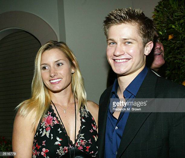 Actors Lynn Basley and Pawel Szajda attend the after party for the film premiere of Under The Tuscan Sun at the Roosevelt Hotel on September 20 2003...