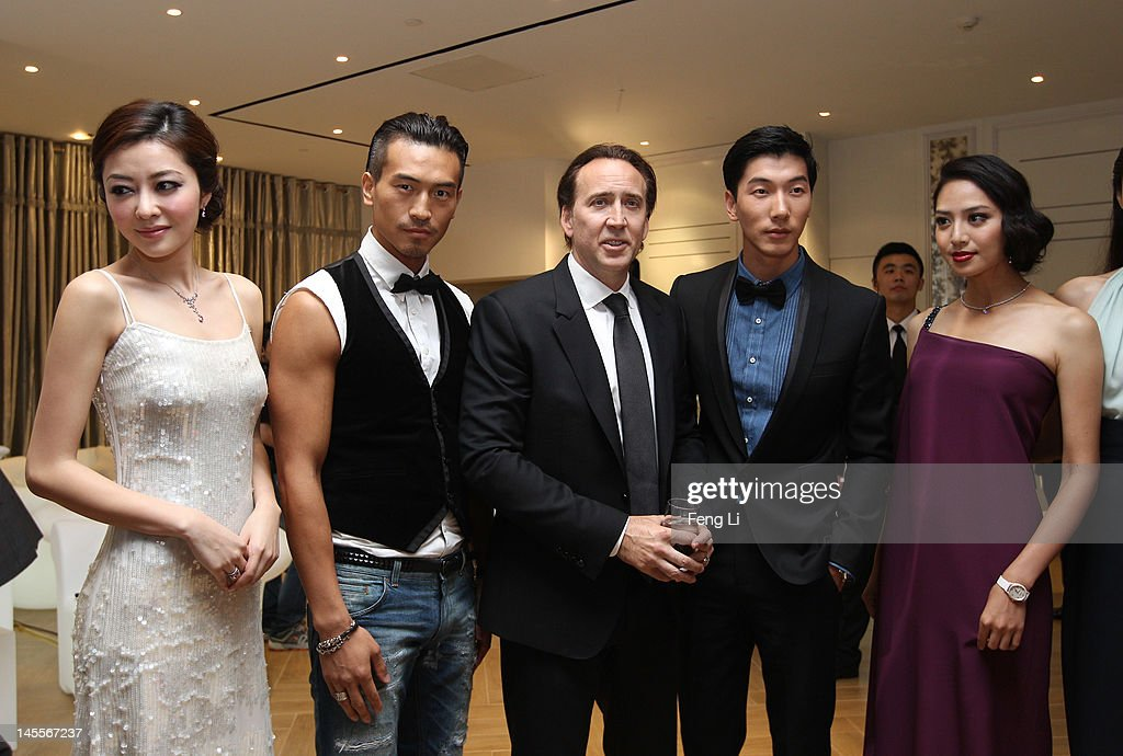 Actors Lynn Xiong, Rock Gi, Nicolas Cage, model Zhang Liang and Shatina Chen attend the Montblanc international gala to celebrate the official opening of its new and biggest concept store in the world at the Montblanc Sanlitun Concept Store on June 1, 2012 in Beijing, China.
