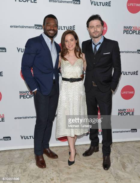 Actors Lyriq Bent Caroline Dhavernas and Richard Short attend a screening of Entertainment One's 'Mary Kills People' at The London Hotel on April 19...