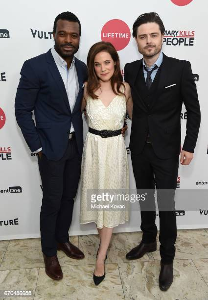 Actors Lyriq Bent Caroline Dhavernas and Richard Short attend Lifetime's 'Mary Kills People' Broad Focus Screening Event at The London West Hollywood...