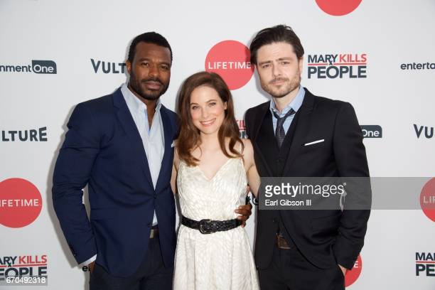 Actors Lyriq Bent Caroline Dhavernas and Richard Short attend the screening of Entertainment One's Mary Kills People at The London Hotel on April 19...