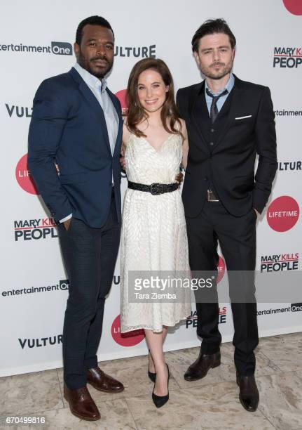 Actors Lyriq Bent Caroline Dhavernas and Richard Short attend the screening of 'Mary Kills People' at The London Hotel on April 19 2017 in West...