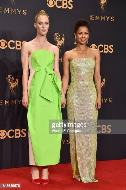 Actors Mackenzie Davis and Gugu MbathaRaw pose in the press room during the 69th Annual Primetime Emmy Awards at Microsoft Theater on September 17...