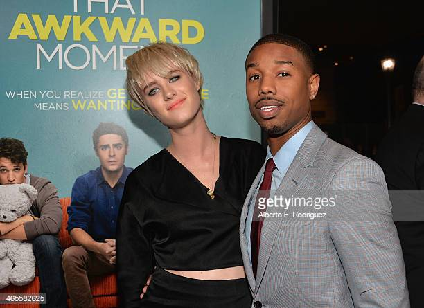 Actors Mackenzie Davis and Michael B Jordan arrive to the premiere of Focus Features' That Awkward Moment at Regal Cinemas LA Live on January 27 2014...