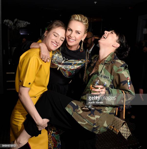Actors Mackenzie Davis Charlize Theron and writer Diablo Cody pose at the after party for the premiere of Focus Features' 'Tully' at WP24 on April 18...