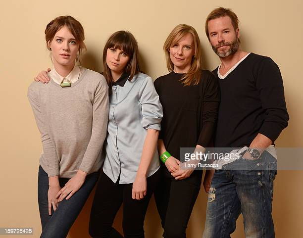 Actors Mackenzie Davis Felicity Jones Amy Ryan and Guy Pearce pose for a portrait during the 2013 Sundance Film Festival at the Getty Images Portrait...