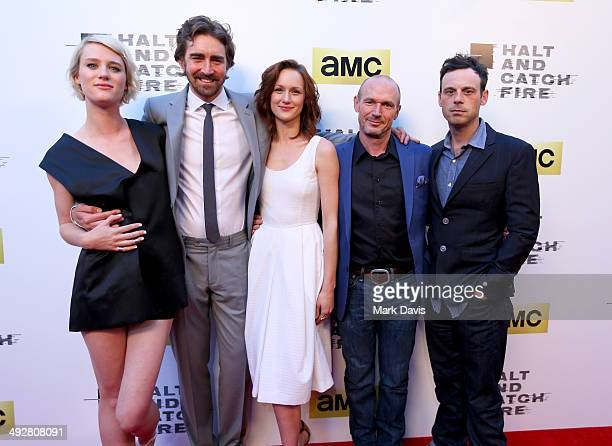 Actors Mackenzie Davis Lee Pace Kerry Bishe Toby Huss and Scoot McNairy attend AMC's new series Halt And Catch Fire Los Angeles Premiere at ArcLight...
