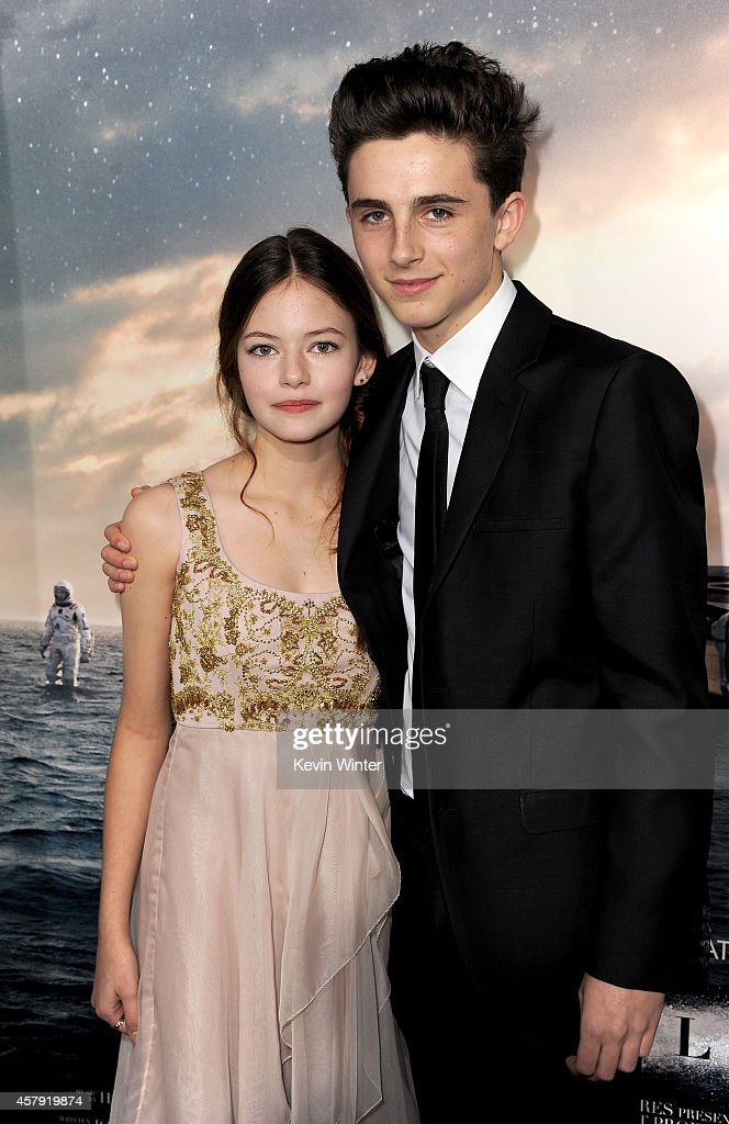 Actors Mackenzie Foy (L) and Timothée Chalamet attend the premiere of Paramount Pictures' 'Interstellar' at TCL Chinese Theatre IMAX on October 26, 2014 in Hollywood, California.