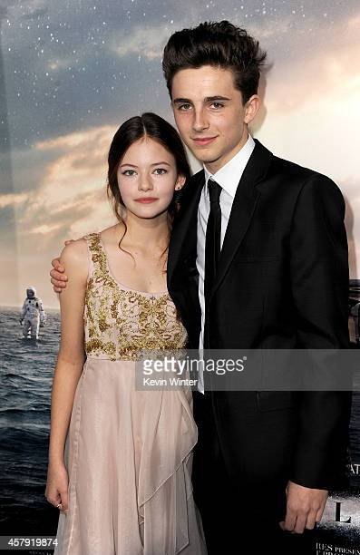 Actors Mackenzie Foy and Timothée Chalamet attend the premiere of Paramount Pictures' 'Interstellar' at TCL Chinese Theatre IMAX on October 26 2014...