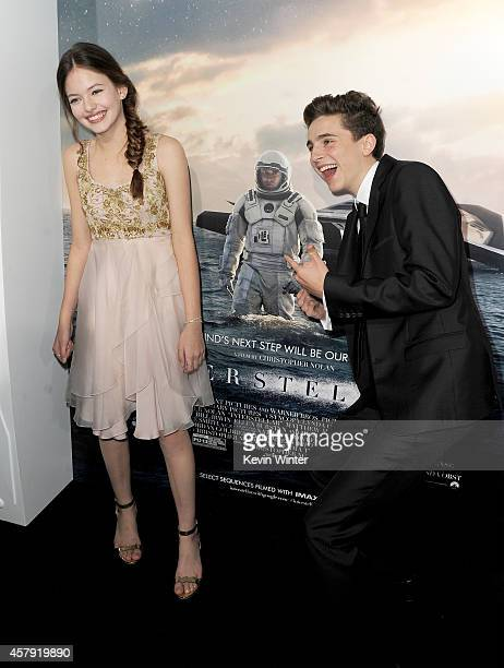 Actors Mackenzie Foy and Timothée Chalamet attend the premiere of Paramount Pictures' Interstellar at TCL Chinese Theatre IMAX on October 26 2014 in...