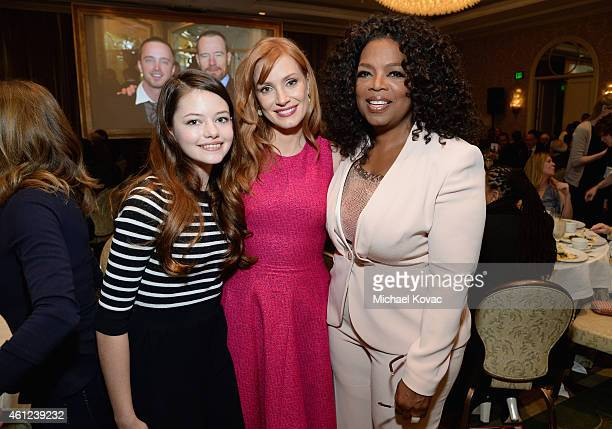 Actors Mackenzie Foy Jessica Chastain and Oprah Winfrey attend the 15th Annual AFI Awards Luncheon at Four Seasons Hotel Los Angeles at Beverly Hills...