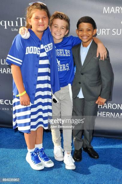 Actors Mackenzie Hancsicsak Parker Bates and Lonnie Chavis attend Los Angeles Dodgers Foundation's 3rd Annual Blue Diamond Gala at Dodger Stadium on...