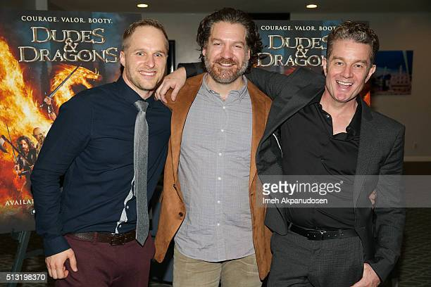 Actors Maclain Nelson Adam Johnson and James Marsters attend the premiere of Samuel Goldwyn Films' 'Dudes And Dragons' at Harmony Gold on February 29...